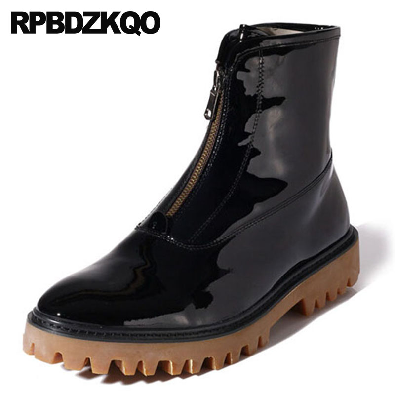 2018 Full Grain Leather Autumn Black Ankle Mens Patent Boots Shoes Zipper Genuine Real High Quality Sole Platform Thick Soled