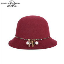 BINGYUANHAOXUAN Womens Autumn Winter Bowler Hat Vintage Wool Felted Cotton Round with Pearl Fashion
