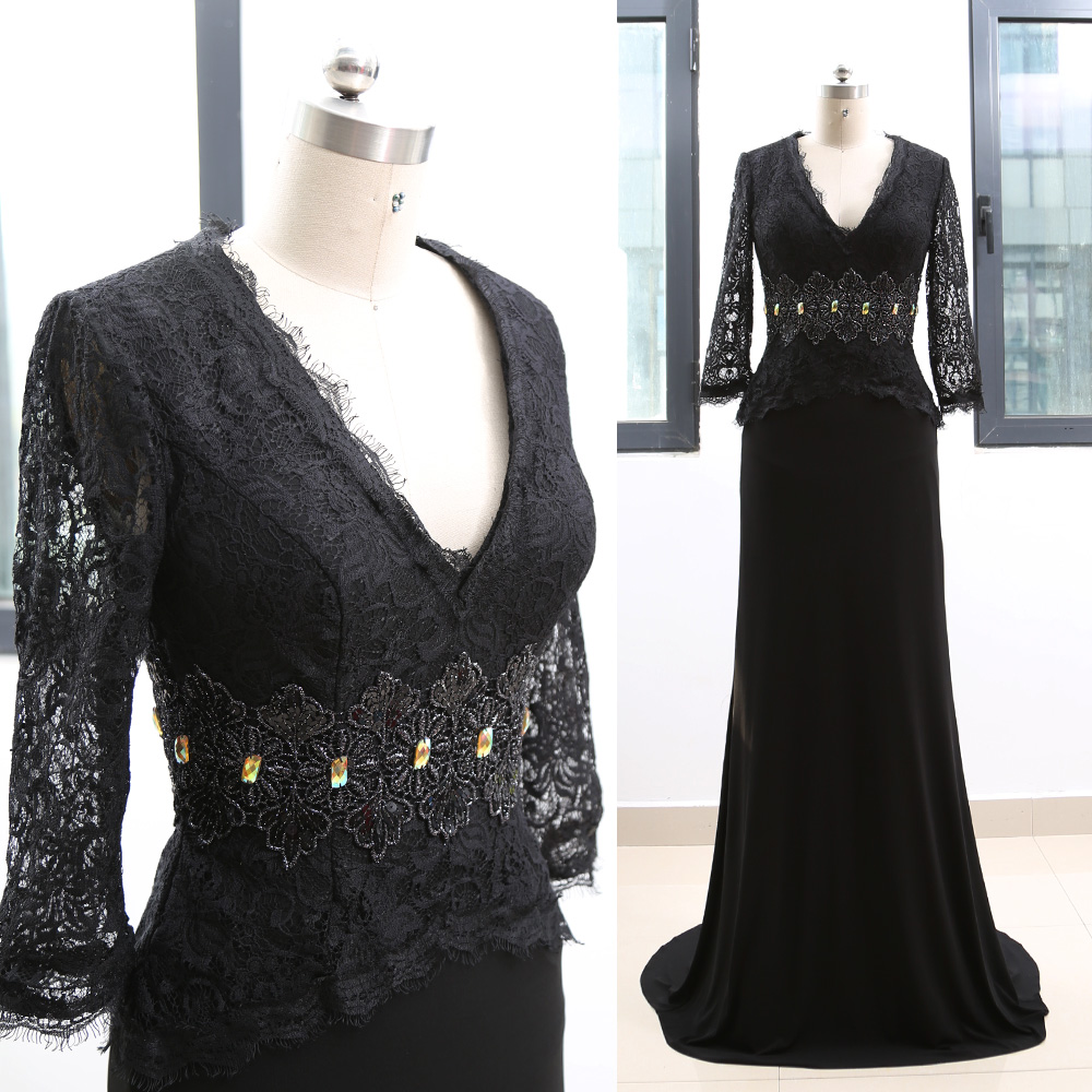 MACloth Black Sweep Train V Neck Floor-Length Long Crystal Jersey   Prom     Dresses     Dress   M 264370 Clearance