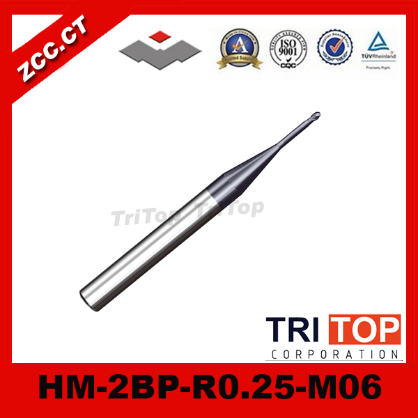 ZCC.CT HM/HMX-2BP-R0.25-M06 68HRC solid carbide 2-flute ball nose end mills with straight shank, long neck 100% guarantee solid carbide milling cutter 68hrc zcc ct hm hmx 2bl r3 0 2 flute ball nose end mills with straight shank