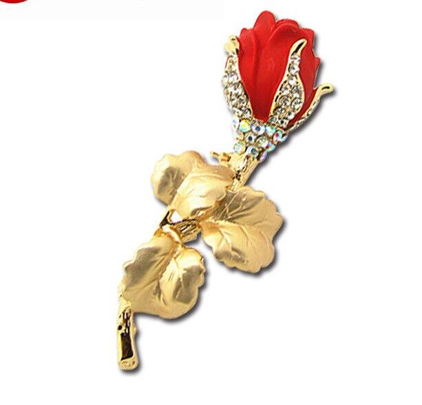 Продвижение высокого качества Модные Романтический Роскошный Кристалл красная роза Для женщин горячей брошь X151