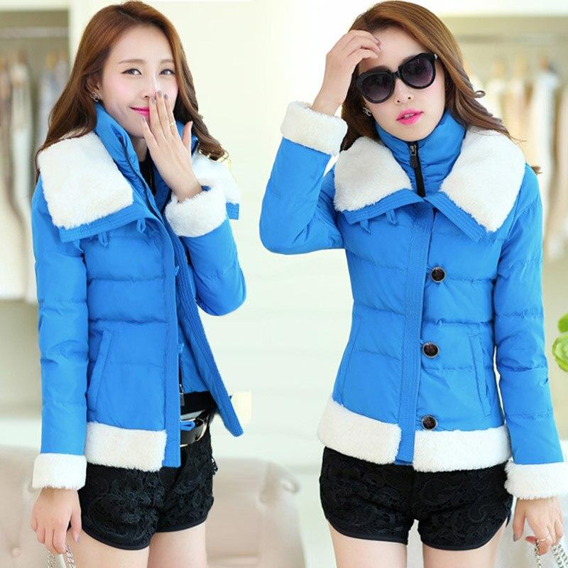 2015 Autumn And Winter Fur Collar Coat Women Cotton-Padded Jacket Female Wadded Jacket Ladies Plus Size Jackets H5334
