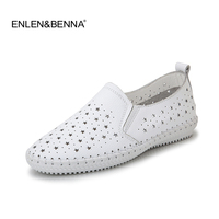2017 Women Espadrilles Flats Shoes Genuine Leather Cut Out Slip On Ladies Ballet Flats Loafers Female