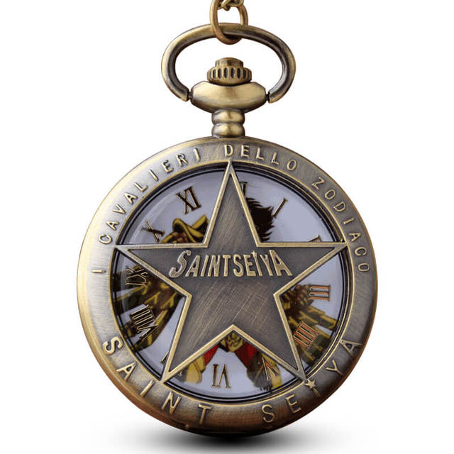 Hollow SAINT SEIYA Pocket Watch Chains Pendant Necklace Retro Quartz Pocket Watc
