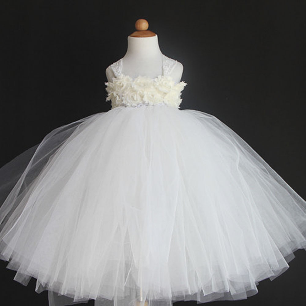 Flower Girls Tutu Dress For Wedding Birthday Party Handmade Cute Princess Kids Ball Gown Tulle Dresses For Photo props princess flower girls tutu dress with lace straps girls evening dress for birthday party wedding flower ball gown handmade dress
