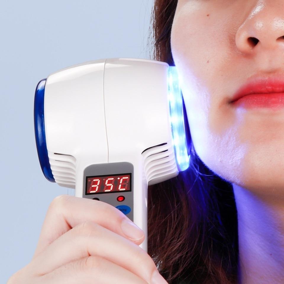 Azul Electrico Porno máquina facial de tratamiento de acné de fotón azul de crioterapia con  martillo frío