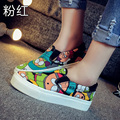 New 2016 Spring Autumn  Loafers Women Brand Flat Shoes Elegant Casual Canvas Shoes Muffin Bottom Free Shipping