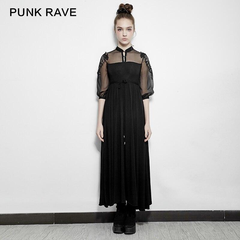 PUNK RAVE Gothic Lolita Stand Collar Chiffon Women Dresses Silk Embroidery Steampunk Vintage Half Sleeve Women Summer Dresses