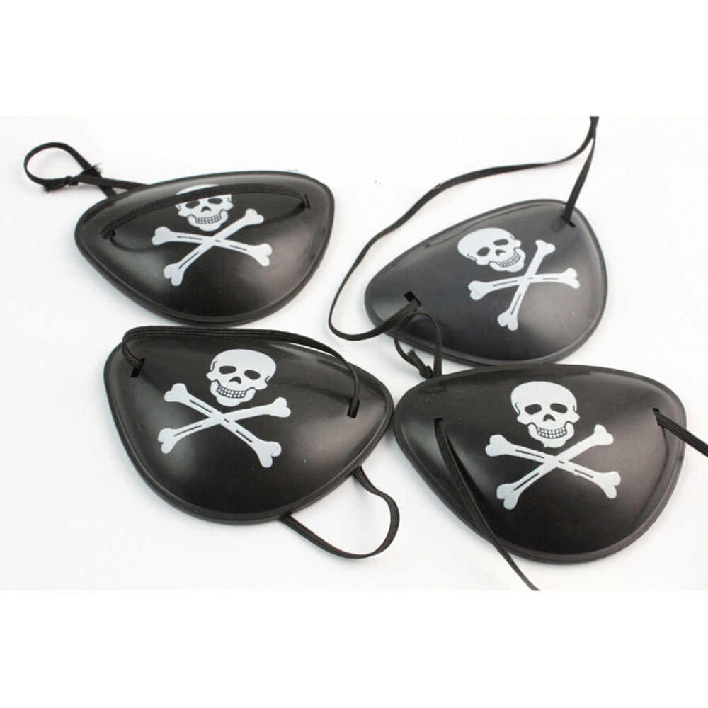 Black Skull Crossbone Halloween Birthday Kids Toy 1PC Party Costume Supplies Plastic Pirate Eye Patch Party Favors Bag