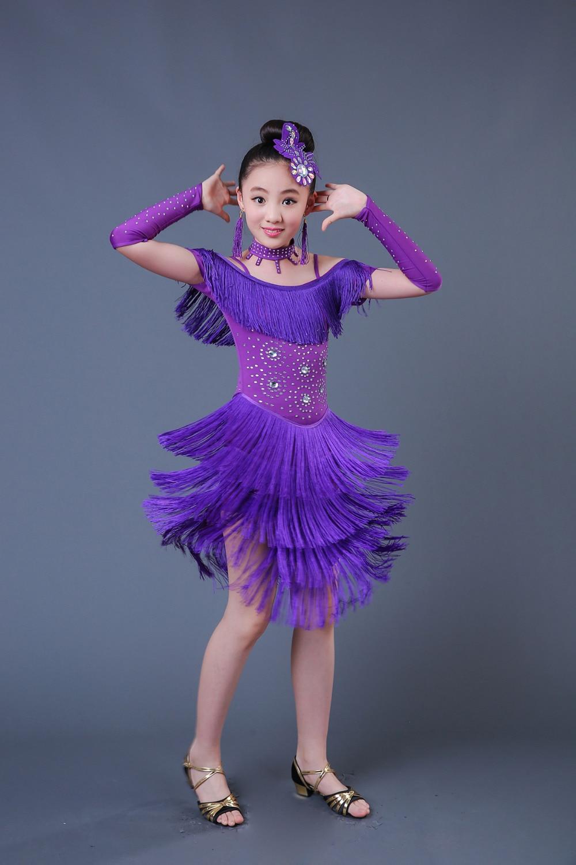 2019 Fashion Sequin Fringe Tassel Latin Dance Dress Girls Stage Performance Costumes Tango Ballroom Dance Dress Kids Latin Dress