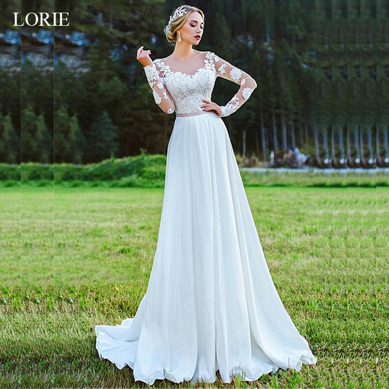 LORIE A Line Wedding Dress With Lace Appliques Lace up Bride dress 2019 Long Sleeves White