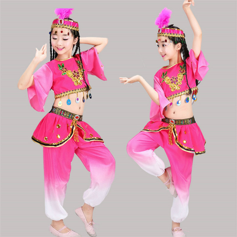 New Style Children's Performance Clothing Xinjiang Dance Girls Dance Costumes Minority Dance Costumes
