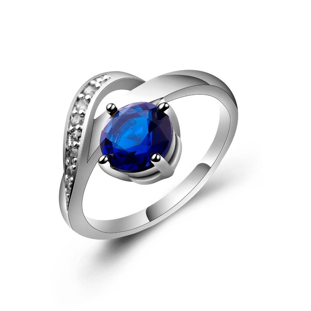 Bagues de désherbage élégantes pour femmes courbé creux rond éblouissant bleu vert CZ anneau de doigt pour les femmes bijoux de fiançailles de mariage
