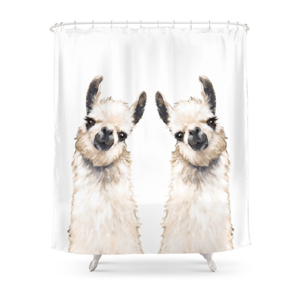 Llama Shower Curtain Waterproof Polyester Fabric Bathroom Decor Multi Size Printed With 12 Hooks