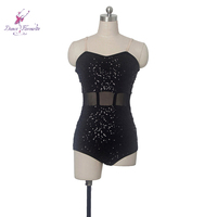 black Sequin spandex bodice ballet leotard women stage performance ballet wear, ballerina girl leotard