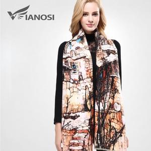 Image 1 - [VIANOSI] szalik markowy zima kobiety szalik kobieta wełna drukowanie szal najlepsza jakość Cashmere Studios ciepła kobieta okłady VA063