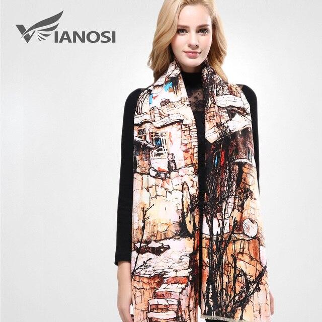 [VIANOSI] szalik markowy zima kobiety szalik kobieta wełna drukowanie szal najlepsza jakość Cashmere Studios ciepła kobieta okłady VA063