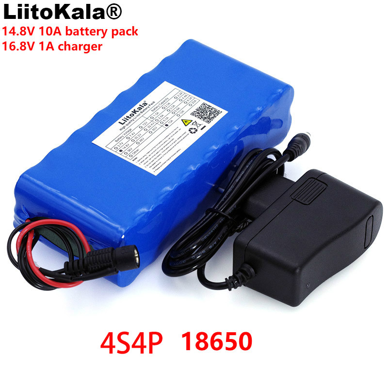 LiitoKala 14.8 V 10Ah 18650 li-iom batterie pack nuit pêche lampe chauffage mineur lampe amplificateur batterie avec BMS + 16.8 V chargeur