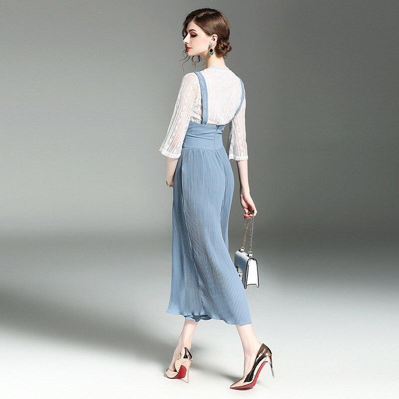 Taille 3 Apricot Cordon Femelle Mode Jarretelles Haute 2018 Costumes Nouveau Tops Mousseline azure De Pantalon Large B102 Manches D'été Femmes Ensembles Soie 4 OZ8wZgq1