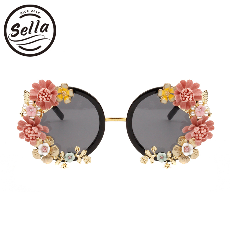 Sella Personality Baroque Style Retro Women Sunglasses Fashion Ladies Luxury Diamond Butterfly Flower Glasses Seaside Vacation