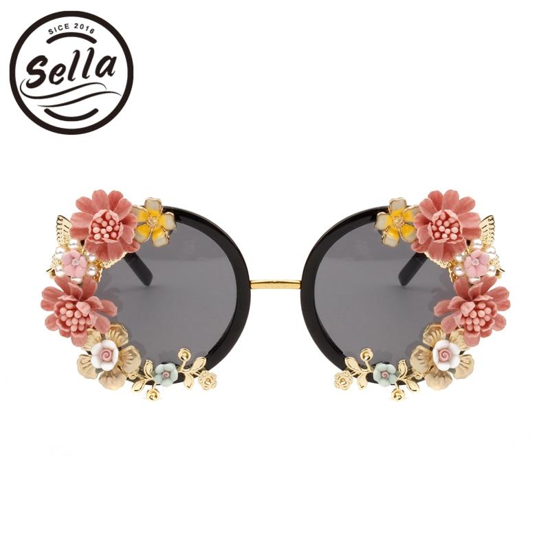 Sella Personality Baroque Style Retro Women Sunglasses Fashion Ladies Luxury Diamond Butterfly Flower Glasses Seaside Vacation