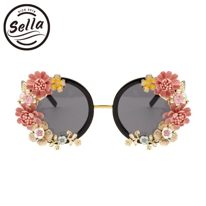 Sella personalidad estilo barroco Retro mujeres gafas de sol de las señoras de moda de lujo diamante mariposa flor gafas playa vacaciones