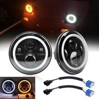 7Inch LED Headlamps with Halo Ring Amber Turn Signal For lada niva 4x4 suzuki samurai 7 DRL Halo Headlights For VAZ 2101
