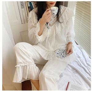 Image 4 - נשים של לוליטה נסיכת V צוואר פיג מה סטים. לפרוע תחרה חולצות + ארוך מכנסיים. בציר גבירותיי של הילדה פיג סט. הלבשת Loungewear