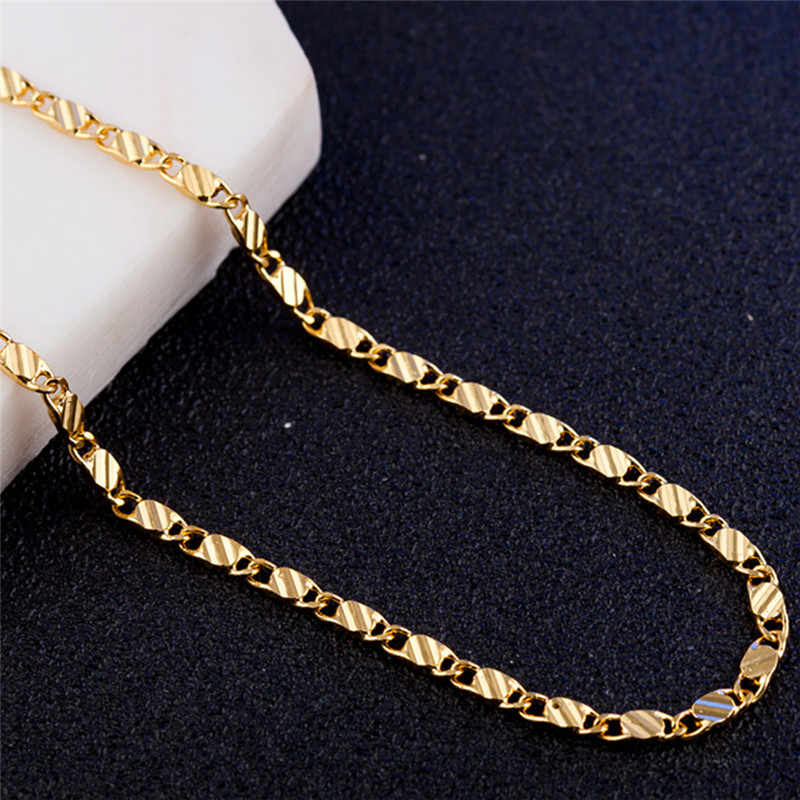 Modyle 2mm Gold silver necklace Unisex Flat snake Link Chain Lobster Clasp collares necklaces for women men