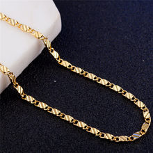 Modyle 2mm Gold silver necklace Unisex Flat snake Link Chain Lobster Clasp collares necklaces for women men(China)