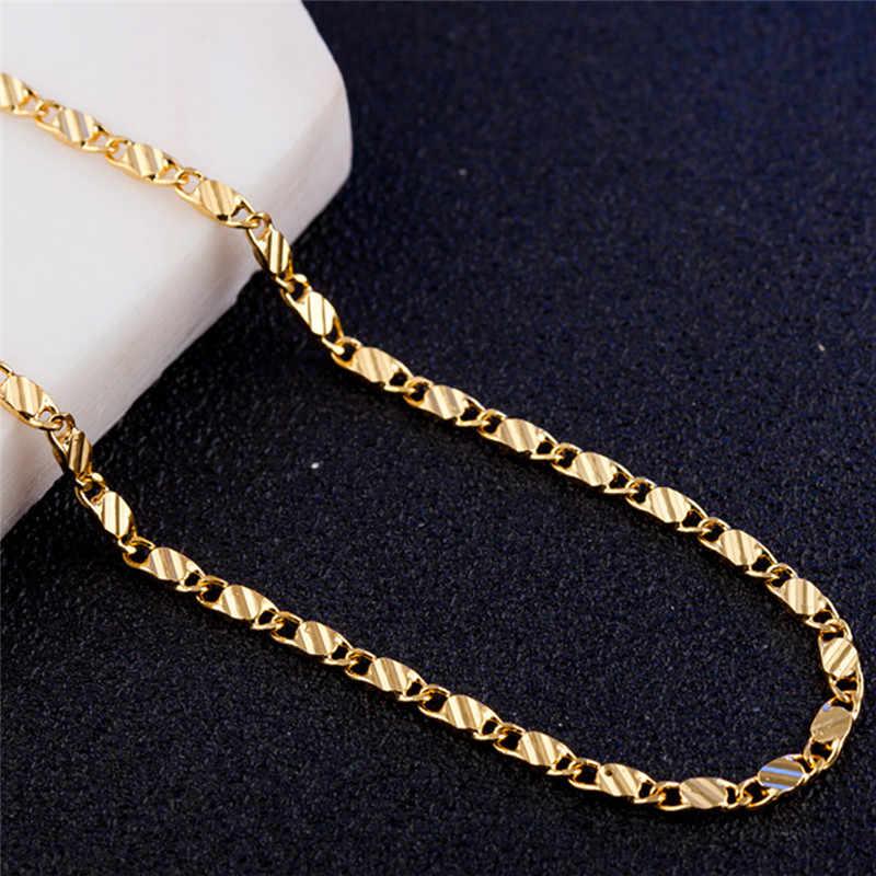 Modyle 2mm złoty srebrny naszyjnik Unisex płaski wąż Link Chain karabińczyk collares naszyjniki dla kobiet mężczyzn