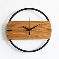 Vintage Wall Clock Simple Modern Design Wooden Clocks for Bedroom 3D Stickers Wood Wall Watch Home Decor Silent 12 inch