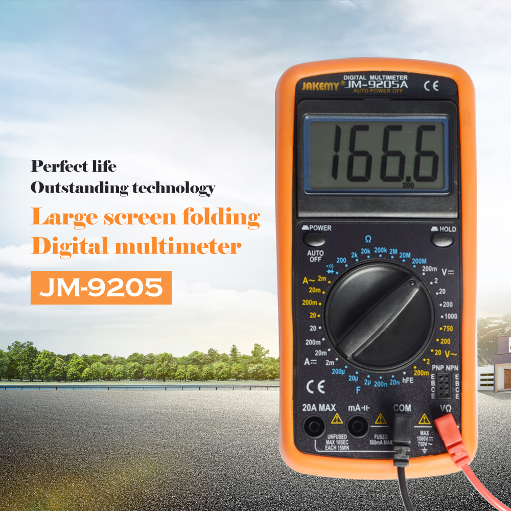 Jakemy LCD Digital Multimeter DT9205A Professional Electrical Handheld Digital Multimeter Tester Multimetro Ammeter Multitester minipa et 988 et988 lcd handheld digital thermometer multimeter