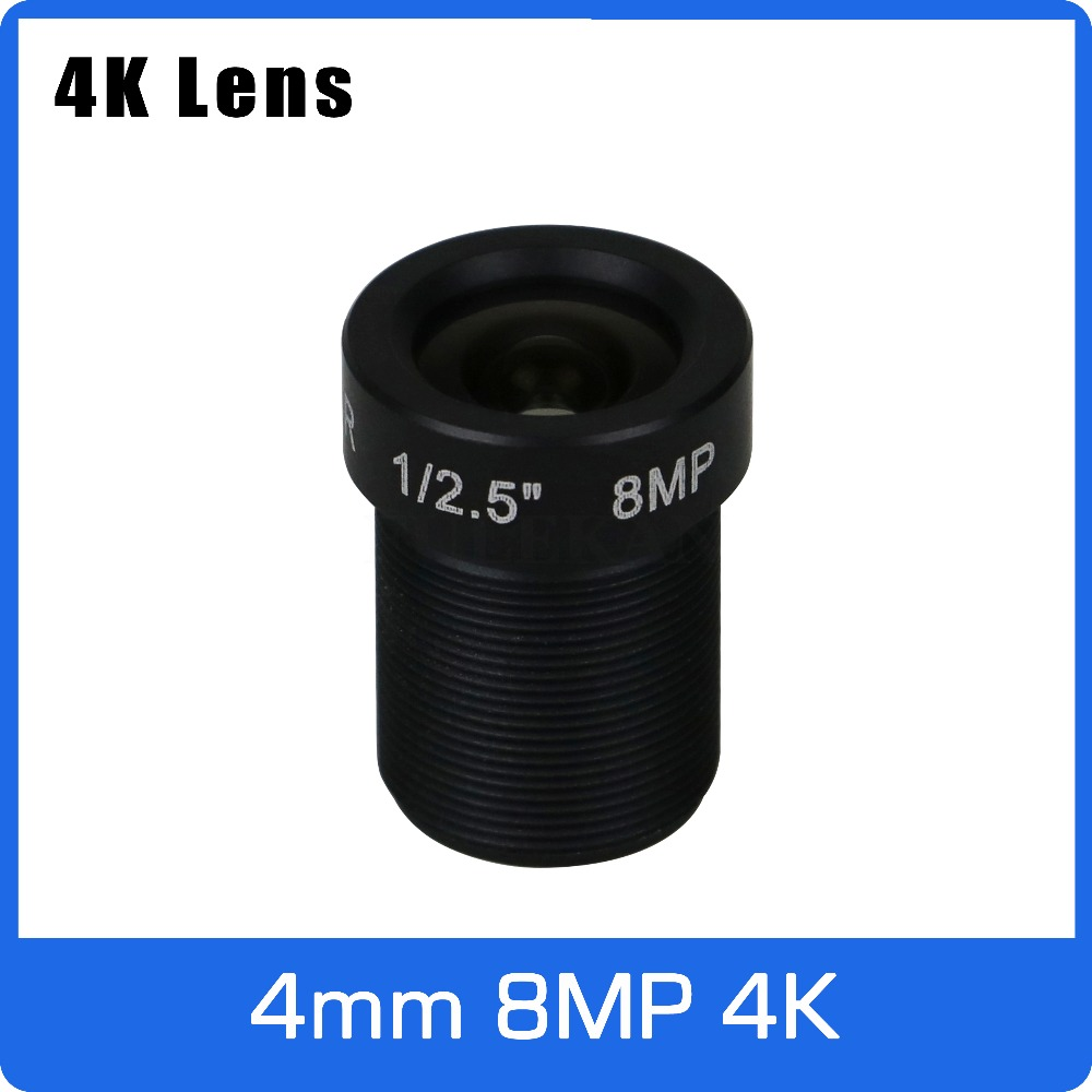 4K Lens 8Megapixel Fixed M12 Small Lens 1/2.5 Inch 4mm 100 Degree For SONY IMX274/IMX317/IMX179 4K IP CCTV Camera Free Shipping