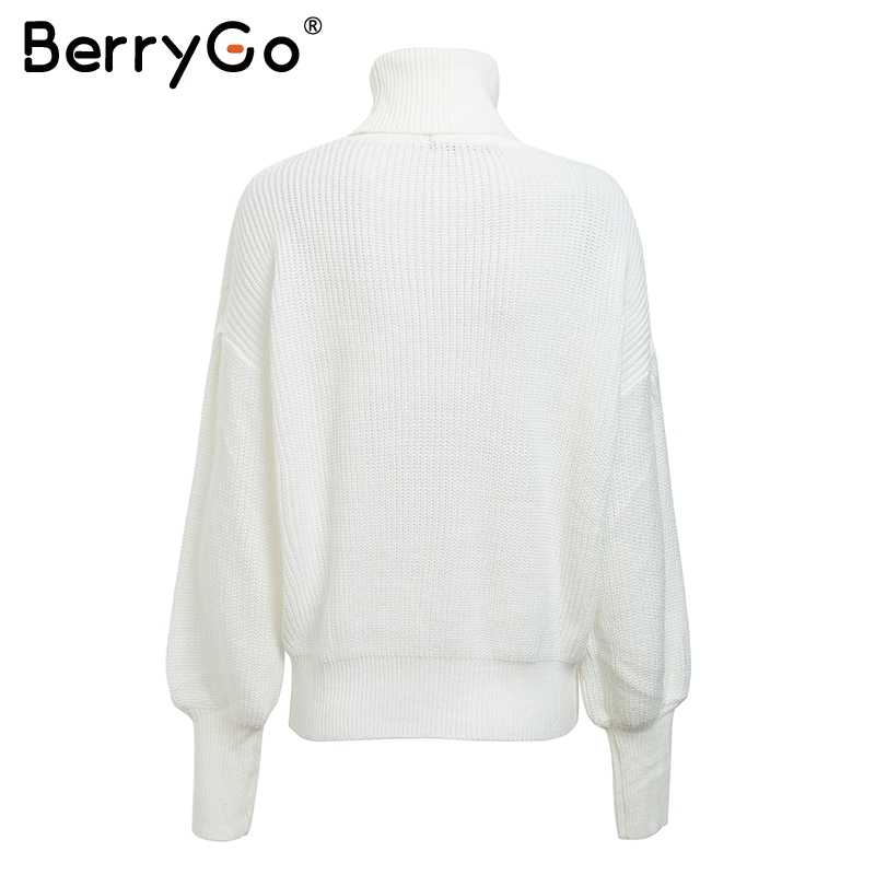 f4b7c6a987 ... BerryGo Turtleneck knitting casual pullover women Lantern sleeve red  winter sweater female Streetwear short white jumper