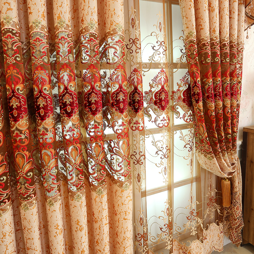 European Curtains For Living Dining Room Bedroom  Chenille Embroidered Curtains Luxury Villas Valance Curtain Fabric