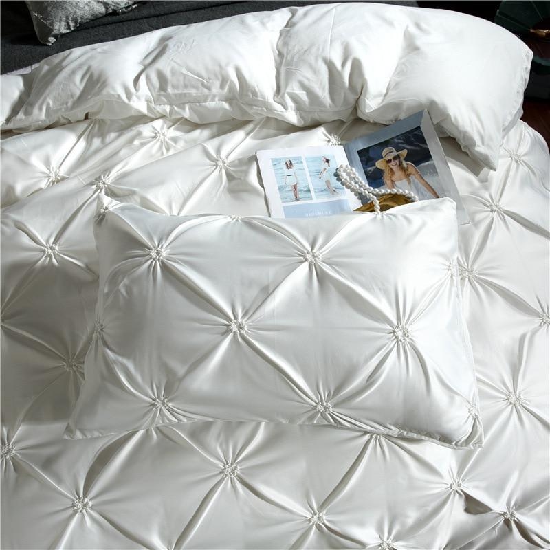 Image 4 - LOVINSUNSHINE Duvet Cover Set Luxury Us King Size Silk Duvet Cover Set Duvet Cover Satin Queen Size AC01#-in Bedding Sets from Home & Garden