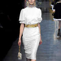 Runway Fashion White Ladies Uniforms Skirt Suits Beading Gold Line Women S Office Business Work Wear