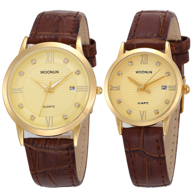 WOONUN Top Brand Luxury Gold Watches Lovers Leather Strap Rhinestone Quartz Couple Watch Set Fashion Couple Watches For Lovers