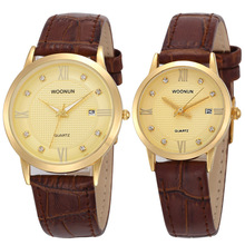 WOONUN Top Brand Luxury Gold Watches Lovers Leather Strap Rh