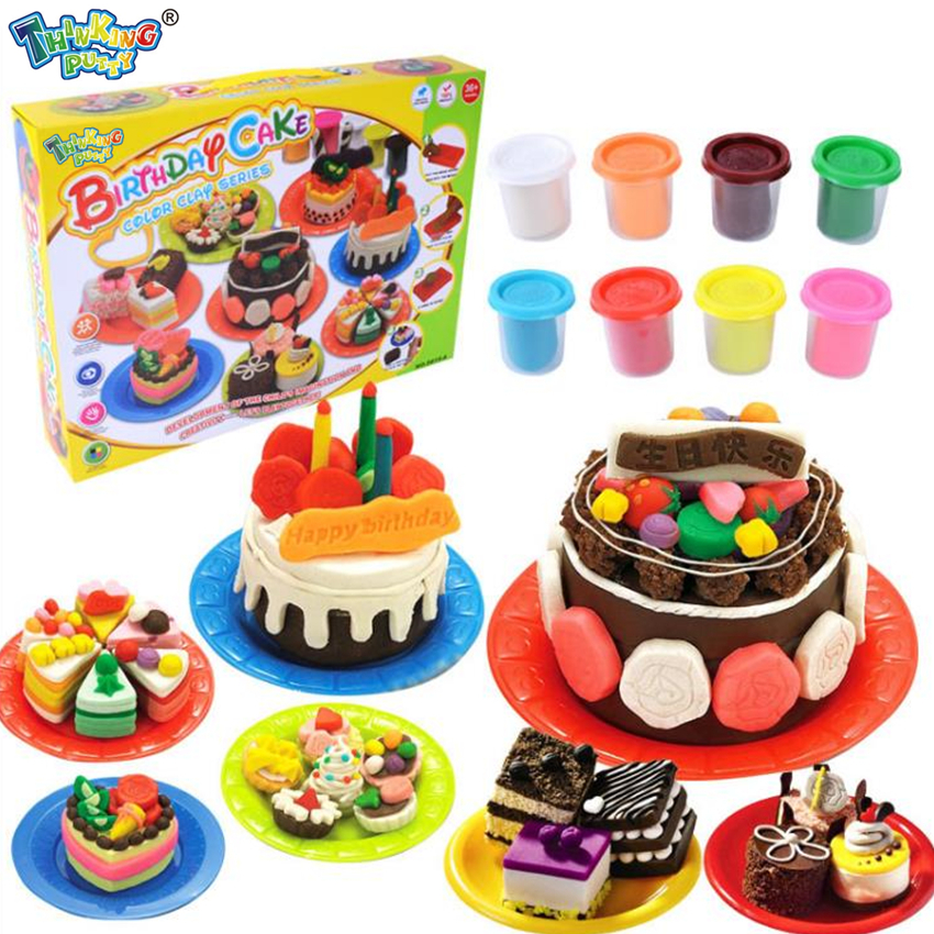 Children DIY Nontoxic Fimo Playdough Simulation Birthday Cake Model Clay Kit Mold Set Kids Pretend Play Intelligence Toys Tools model plasticine diy fimo polymer clay tools professional slime playdough tool sculpture clay carving tools set toys for kids