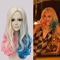 New!! Movie Suicide Squad Harley Quinn Cosplay Wig Multi-Color Short Curly Synthetic Hair Costume party Wigs No Bangs Wig