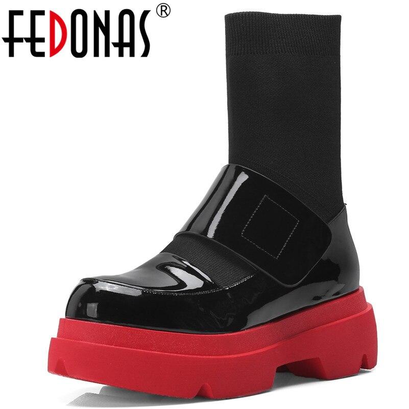 Ayakk.'ten Diz Altı Çizmeler'de FEDONAS Yeni Kadın Orta Buzağı Botları Sonbahar Kış sıcak Yüksek Topuklu Ayakkabılar Kadın Hakiki Deri Rahat Kaliteli Marka Streç çizmeler'da  Grup 1