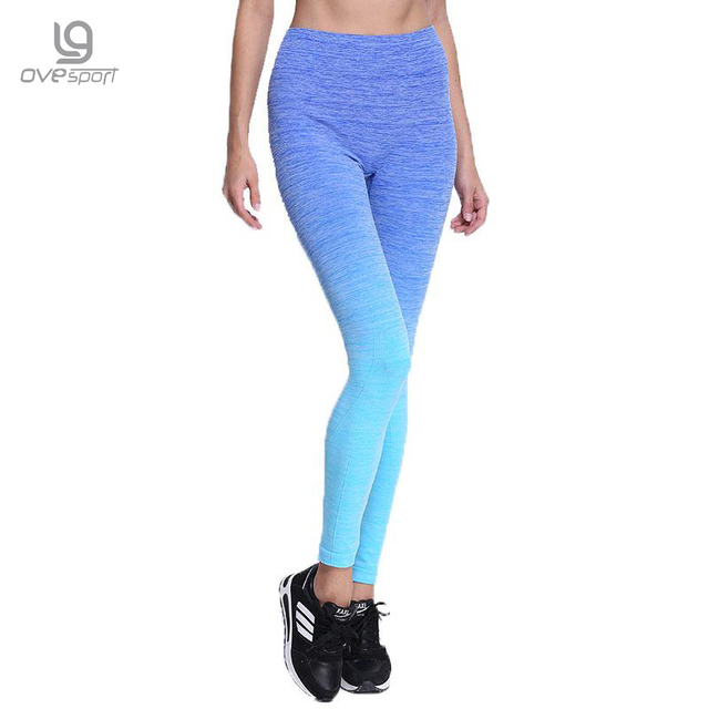 New Fashion Four Color Leggings Women Grident Workout Fitness Leggings High Waist And Elastic Quick Drying Women Trousers