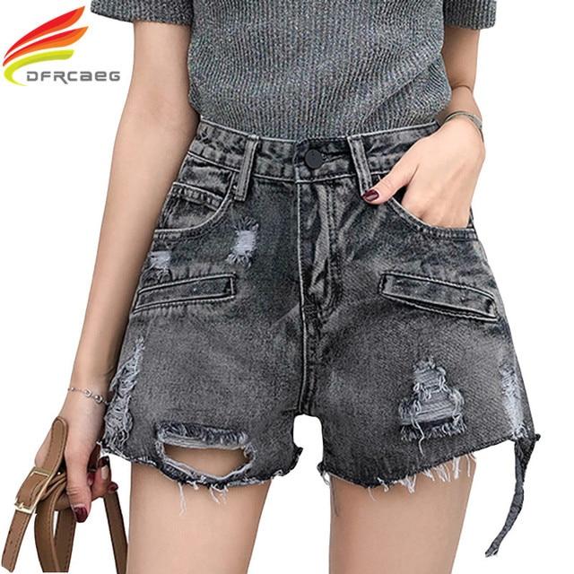 Summer Denim Shorts Women 2018 High Waist Black Jean Short With Hole Korean Fashion Loose Jeans Women's Shorts Ripped Short
