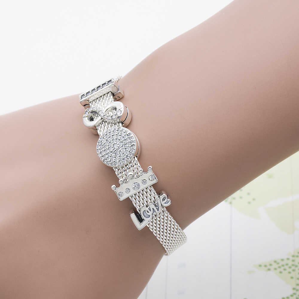plated Silver hgih quality  REFLEXIONS BRACELET women Bracelets  Charms beads clip with 3A zircon gift Mingshang wholesale