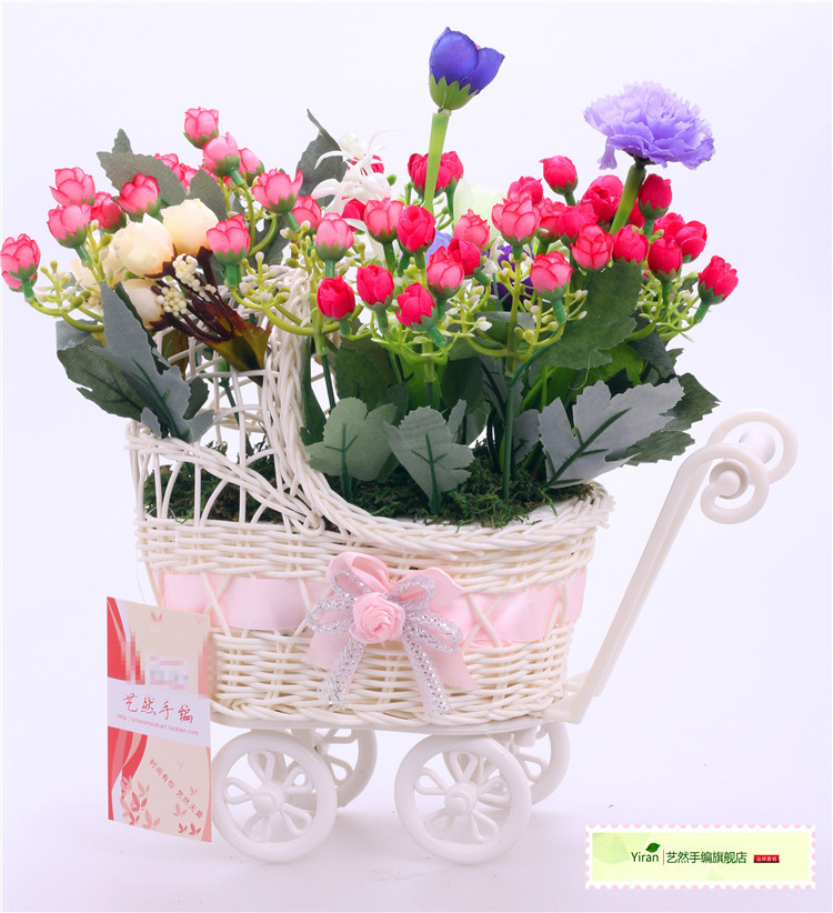 White quadricycle Bike Design Flower Basket Storage Container rattan floats flower vase artificial home decorations - ShenZhen WanNingShuoKe Technology Co.,Ltd. store