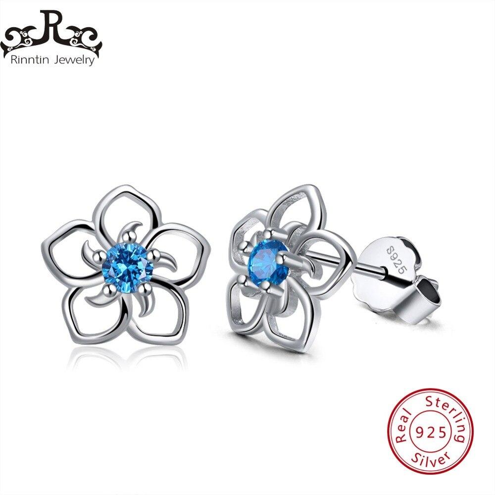 Rinntin Solid 925 Real Sterling Silver Women Stud Earrings Flower Pattern Blue AAA Zircon Classic Style Party  Jewelry TSE71-L
