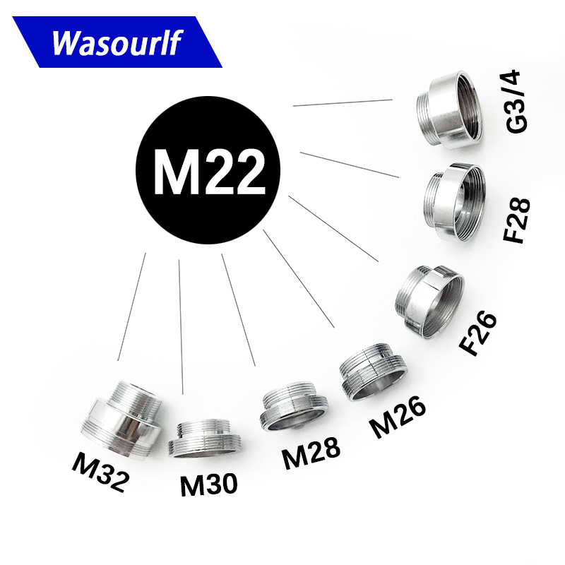 WASOURLF M22 Male External Thread Transfer G1/2 Inch M32 Connector Outer Adapter Bathroom Kitchen Brass Faucet Accessories