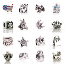 1pc Free Shipping Silver Bead Charm European Love Heart Clover Owl Boy Dog Paw Family Fashion Bead Fit Pandora Bracelet Necklace(China)